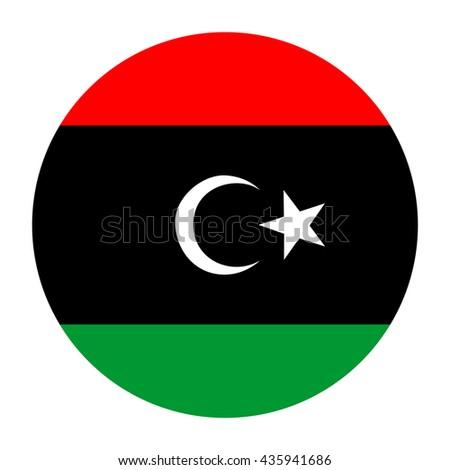 Simple vector button flag - Libya - stock vector