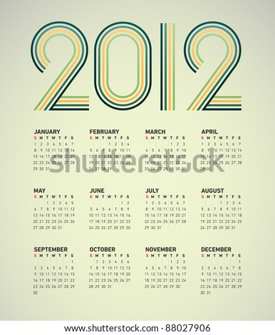 Simple 2012 vector calendar with a green and yellow striped headline