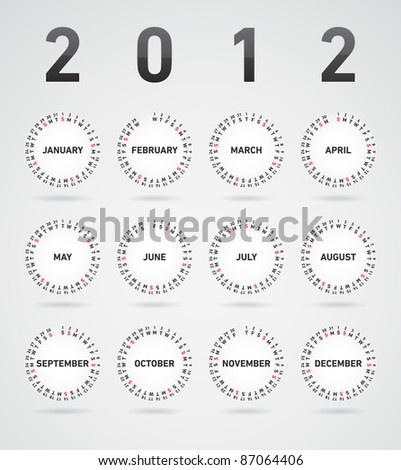 Simple 2012 vector calendar with month visualized at flying circles