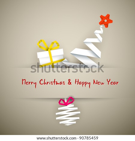 Simple vector christmas card with gift, tree and bauble made from paper stripe