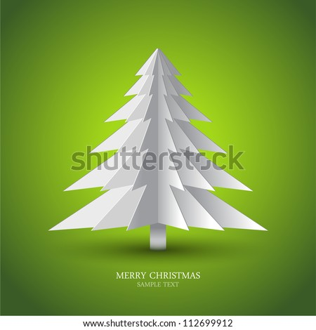 Simple vector christmas tree made from pieces of paper - stock vector