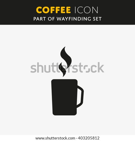 Simple vector coffee icon isolated on white background. - stock vector