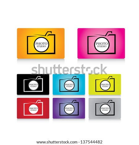 simple vector digital photo camera icon set.photo sign - stock vector