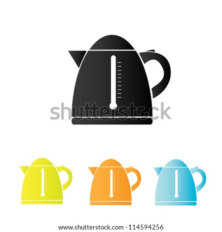 simple vector electric kettle icon set. - stock vector