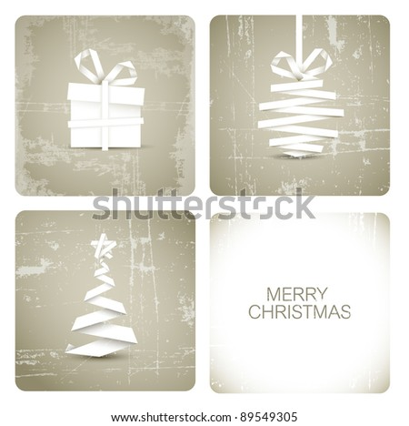 Simple vector grunge christmas decoration made from white paper stripe - original new year card - stock vector