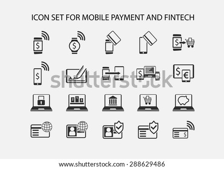Simple vector icon set for mobile payment and electronic payment. Flat design icons for various payment processes for smart phones, smart watches and wearables. - stock vector