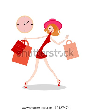simple vector image of excited girl with handbag isolated on white - stock vector