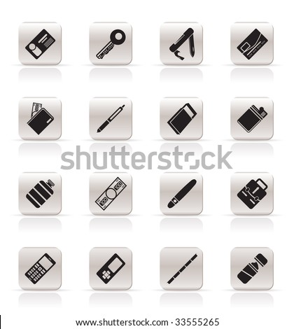 Simple Vector Object Icons - Vector Icon Set - stock vector