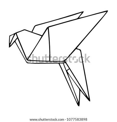 Simple Vector Outline Illustration Of The Origami Dove Bird