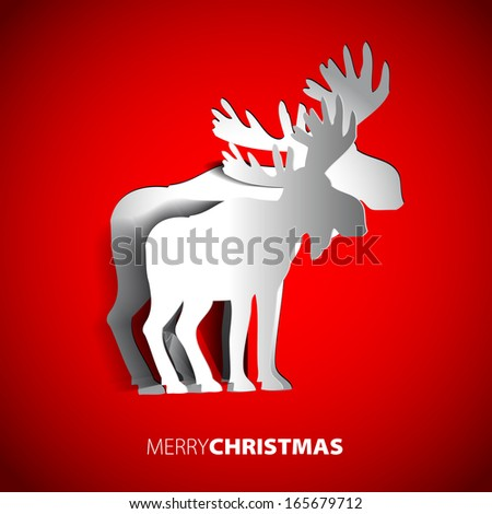 Simple vector paper reindeer - original Merry Christmas card - stock vector