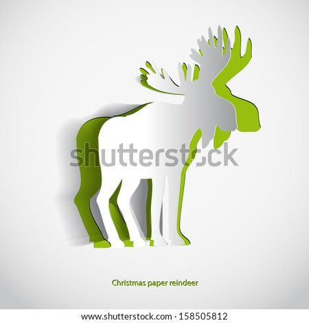 Simple vector paper reindeer- original new year card - stock vector