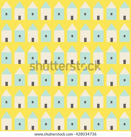 Simple vector pattern with small houses. Abstract background with tiny house in flat style. - stock vector