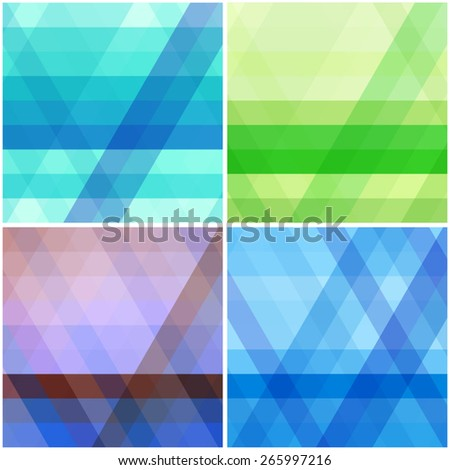 Simple vector patterns. Set of abstract geometric backgrounds with diagonal stripes - stock vector