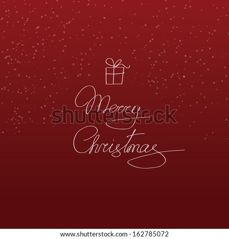 Simple vector red christmas card with gift