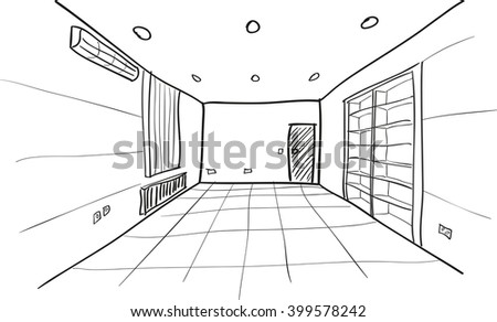 Simple Vector Sketch of Empty Room - stock vector