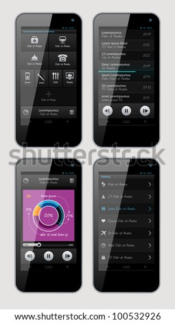 Simple vector template interface for phone - stock vector