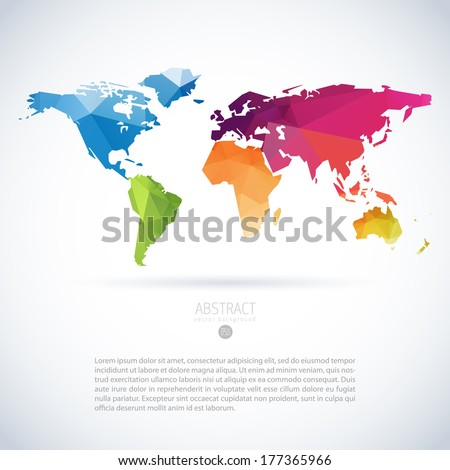 Simple vector template of continental world map with modern triangle pattern - stock vector