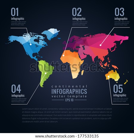 Simple vector template continental world map vectores en stock simple vector template of continental world map with modern triangle pattern and infographics template gumiabroncs Gallery
