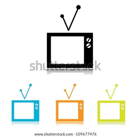 simple vector tv icon set. - stock vector