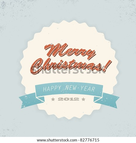 Simple vintage retro vector Christmas card (blue, red and yellow) - stock vector