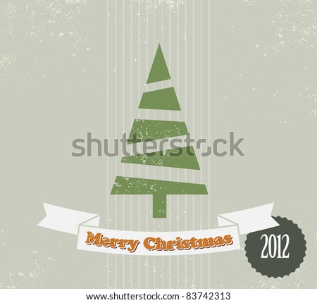 Simple vintage vector retro Christmas card with christmas tree - stock vector
