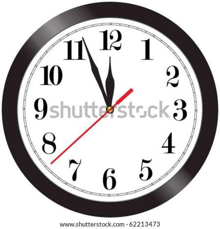Simple wall clock illustration - almost midnight - stock vector