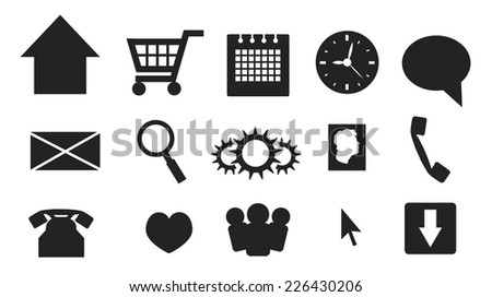 Simple web and multimedia icons and buttons - stock vector