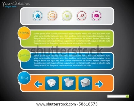 Simple website template for advertising - stock vector