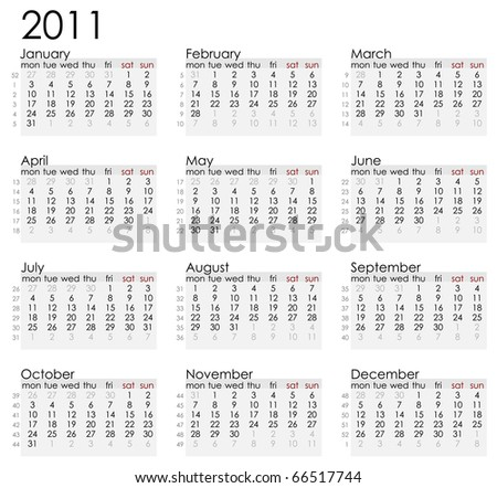simple white 2011 calender with week notations. Week starts on Monday. - stock vector