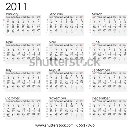 Simple white 2011 calender with week notations. Weeks starts on Sunday. - stock vector
