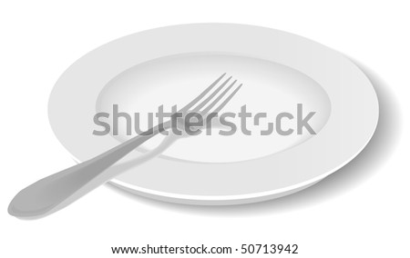 Simple white plate and fork drawn from an angle with shadow. - stock vector