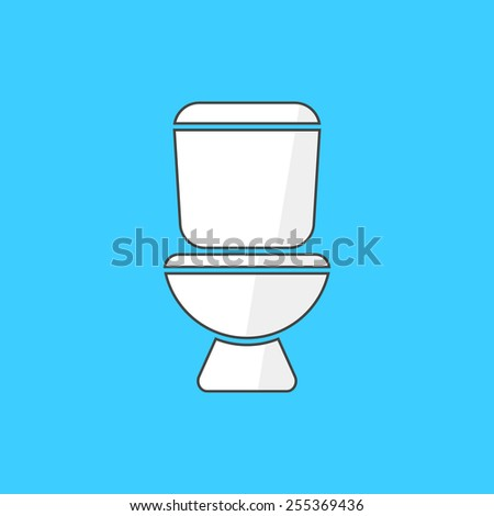 simple white toilet icon. concept of world toilet day, daily hygiene, bathroom furniture, sanitary technician. isolated on blue background. flat style trendy modern logotype design vector illustration - stock vector