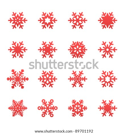 Simple winter snowflakes - stock vector