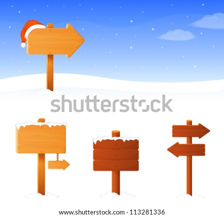simple winter theme banner with a wooden sign board and santa hat, plus additional sign boards of different shape - stock vector