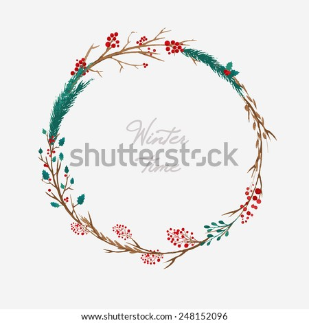 simple winter wreath made of branches and berries - stock vector
