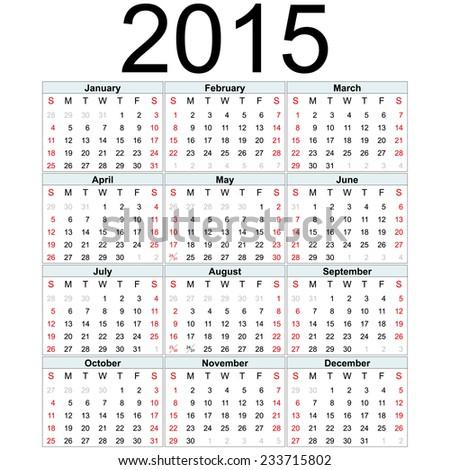 Simple 2015 year vector calendar / 2015 calendar design / 2015 calendar vertical - week starts with sunday - stock vector