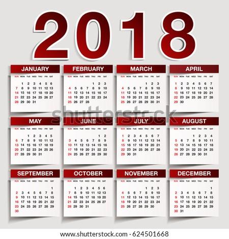Simple 2018 Year Vector Calendar 2018 Stock Vector 624501668 ...