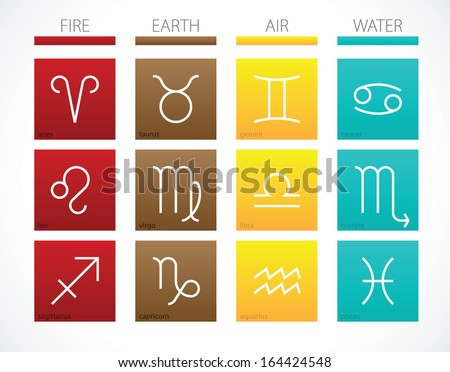 Simple Zodiac Signs Elements Tile Icons Stock Vector Royalty Free
