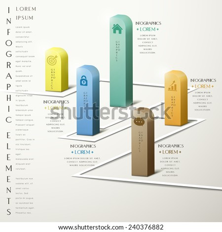 simplicity infographic template design with 3d chart elements - stock vector