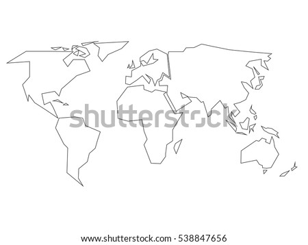World map drawing stock images royalty free images vectors simplified black outline of world map divided to six continents simple flat vector illustration on gumiabroncs Choice Image