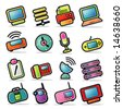 Simplified, colorful Icon set representing various electronic devices. - stock vector