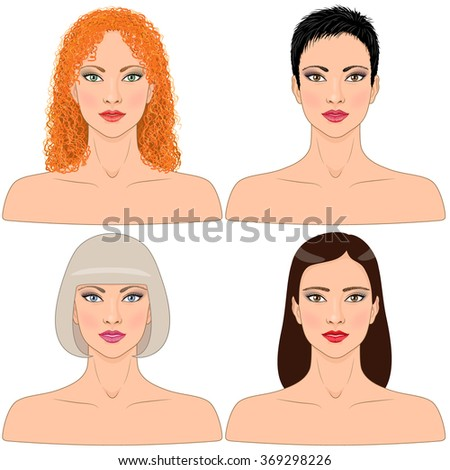 Simplified image of women with different hairstyles  isolated on white.  - stock vector