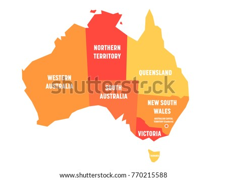 simplified map of australia divided into states and territories orange flat map with white labels