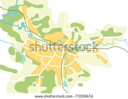 Simplified Map of The City. Decorative background vector illustration EPS-8. - stock vector