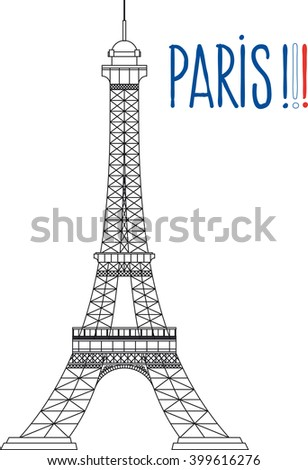 simplified the Eiffel Tower  with Text Paris in the colors of the French flag