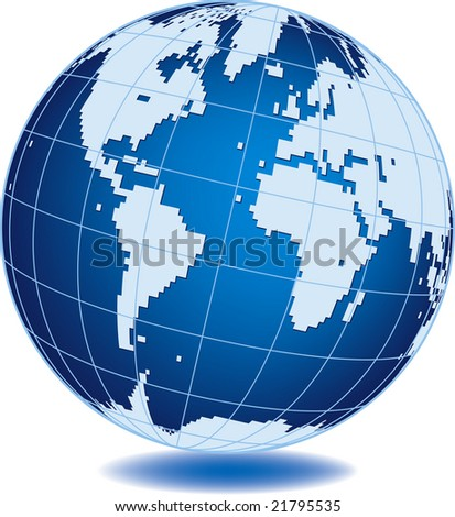 Simplified world globe isolated on white background