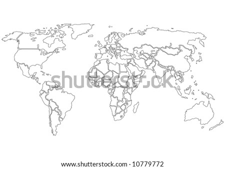 World map outline country graphic vector vectores en stock 582504274 simplified world map contours only on white background each country is a separate shape gumiabroncs Image collections