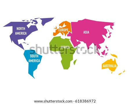 Simplified world map divided six continents vectores en stock simplified world map divided to six continents south america north america africa gumiabroncs Image collections