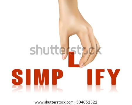 simplify word taken away by hand over white background