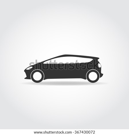Simplistic black car icon. Hatchback with sport body and headlights. - stock vector